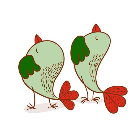 deportment: Two funny brave bird  vector illustration on white background Illustration