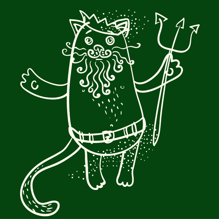 king neptune: Neptune cat drawn on chalkboard vector illustration Illustration