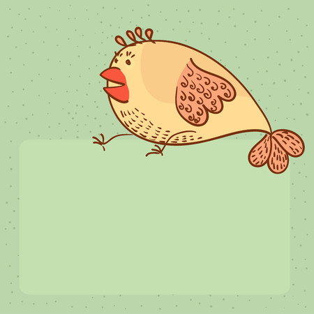 funny shocked chick on background with place for text vector illustration