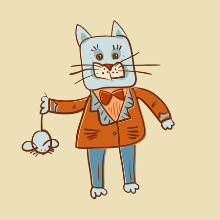 fat dressed cat catch a mouse e offset image Illustration