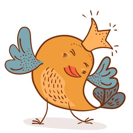 little royal chick  vector illustration on white background