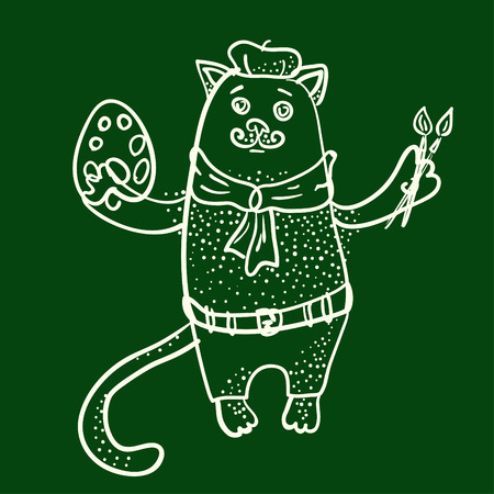 Artist cat outline illustration on chalkboard Illustration