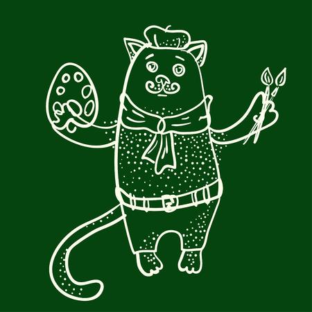 Artist cat outline illustration on chalkboard Illustration