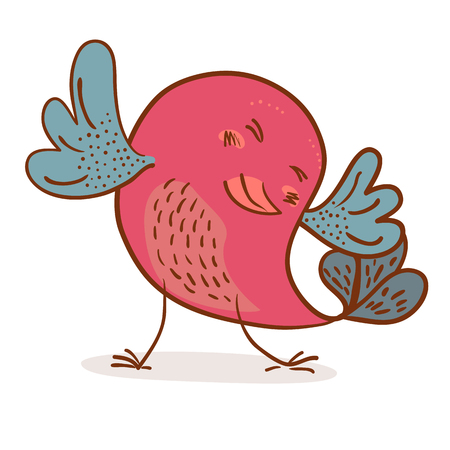 pretty dancing bird on white background vector illustration