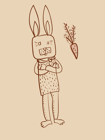 smart rabbit and carrot outline drawing