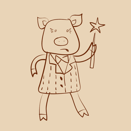 funny pig with magic stick outline drawing