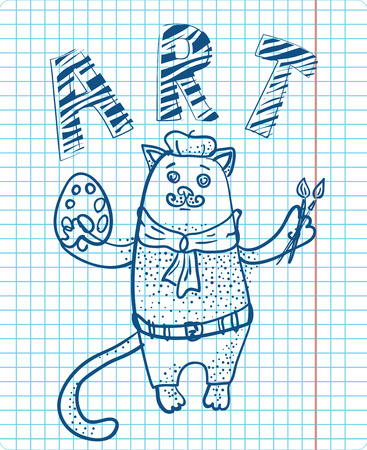 friendly artist cat with ABC drawn in a notebook Illustration