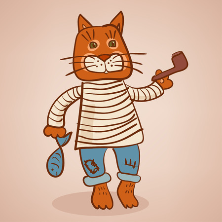 Cat old seaman Illustration