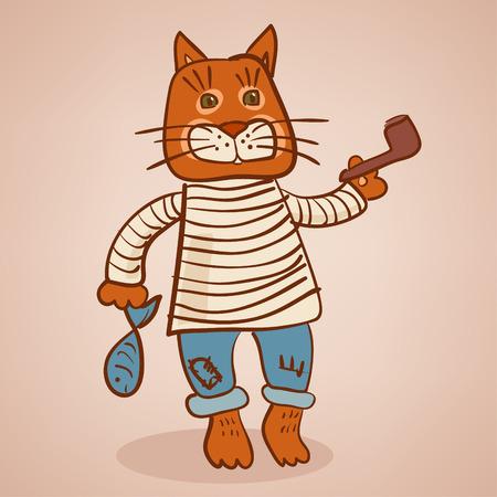 Cat old seaman Illustration