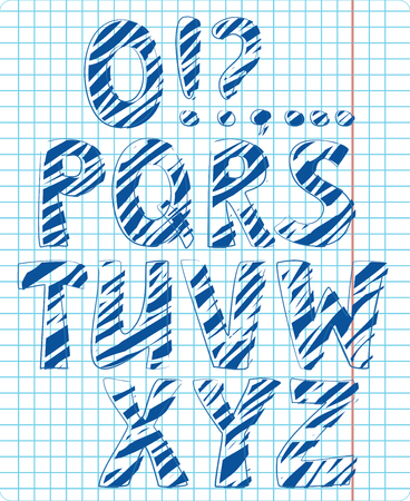 scratched letters in the copybook Illustration