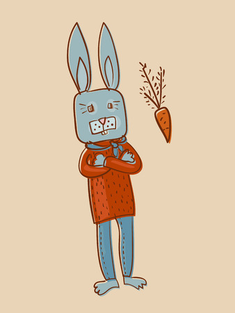 smart rabbit and carrot offset image Illustration