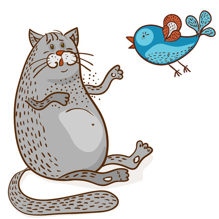 grey fat cat listening a blue bird vector illustration on white background