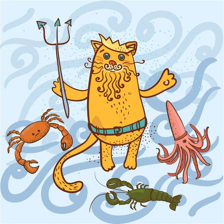 neptuno: color Neptuno gato y el cangrejo, calamar, langosta ilustración vectorial