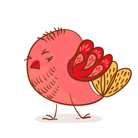 little pink bird on white background vector illustration
