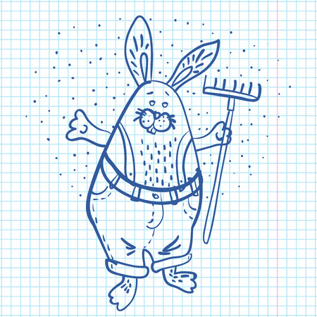 Easter Bunny the  gardener  with a rake drawn on sheet of paper vector illustration