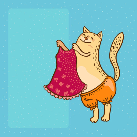 pretty kitty with pink dress vector illustration