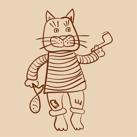 Cat old seaman outline drawing