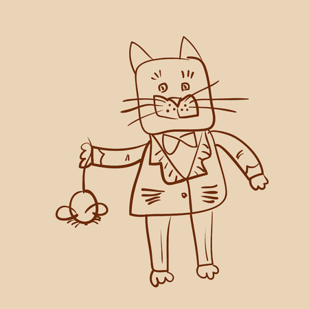outline drawing of fat dressed cat who catch a mouse Illustration