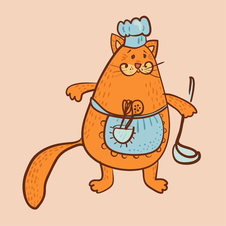 cat the cooker with red fur vector illustration