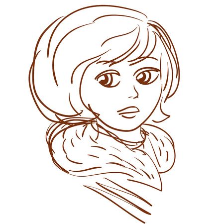 portrait of vintage young girl outline vector illustration Illustration