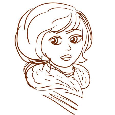 portrait of vintage young girl outline vector illustration Illustration
