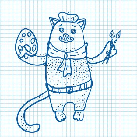Artist cat drawn on sheet of paper vector illustration Illustration