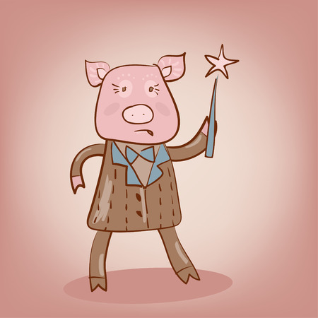 funny pig with magic stick