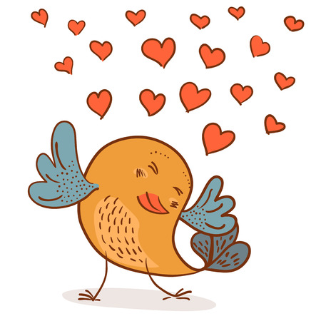 little cute chick in love vector illustration on white background Illustration