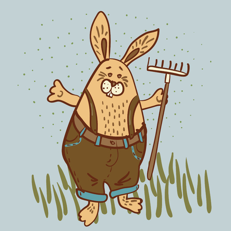 Easter Bunny the  gardener  with a rake vector illustration