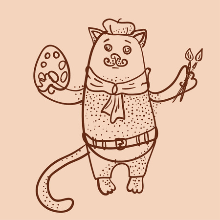 Artist cat outline illustration