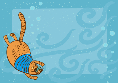 horizontal frame with diving cat Illustration