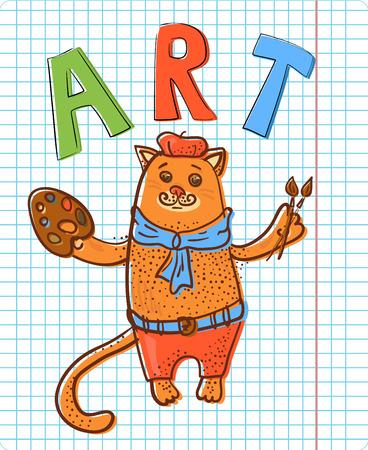 Artist cat on notepad sheet