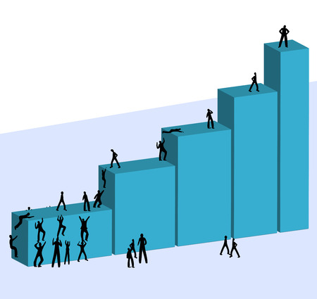 Business chart with businessmen climbing up a hystogram bars Illustration