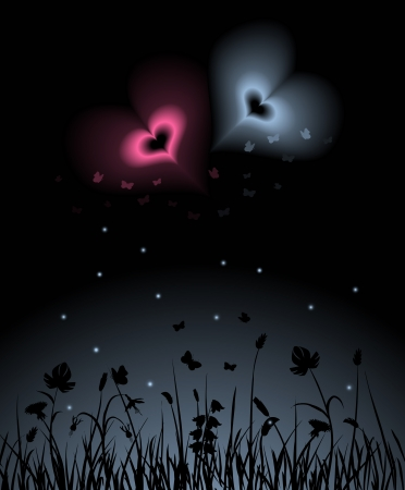 enchantment: Night scene with two magic hearts shining over the garden. Blends and gradients used, no gradient mesh.