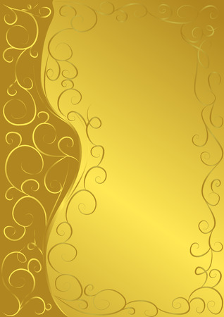 Golden floral background with swirls