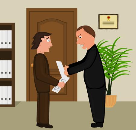 sales executive: Escena de dibujos animados que ilustran gritando jefe a su empleado