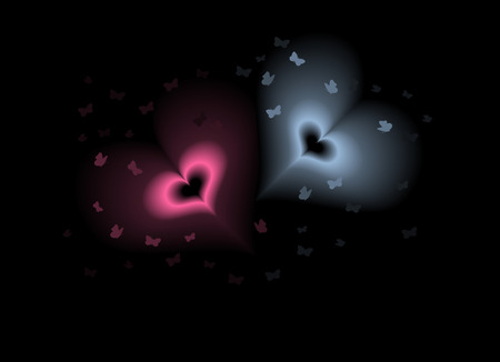 Butterflies flying around a couple of shining hearts. Blends, no gradient mesh used. Illustration