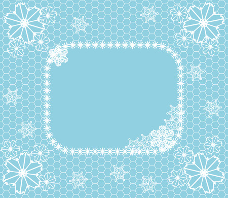 Winter related background with lace, frame and snowflakes