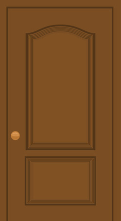 entrance door: Cartoon illustration of a wooden door