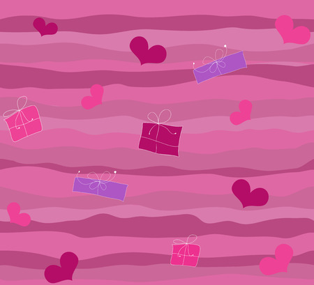 Seamless gifts and hearts background Illustration
