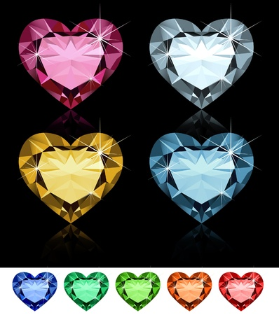ruby gemstone: Diamond hearts  Illustration