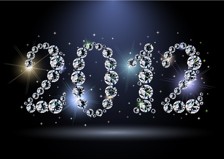 2012 year diamond digits with sparkles Vector