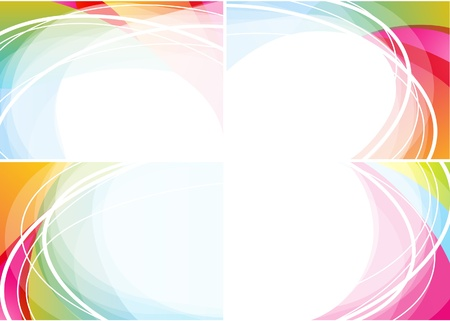 Set of four wavy backgrounds  Illustration