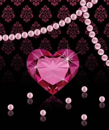 Jewelery background with heart-shaped diamond and pearls  Vector