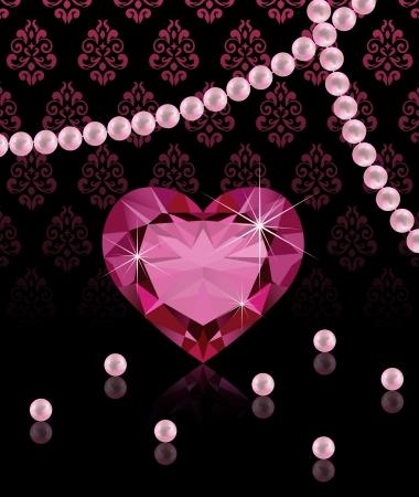 Joyería de fondo con forma de corazón de diamantes y perlas Ilustración de vector