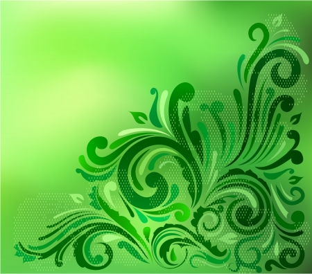 Green floral background with copyspace Illustration