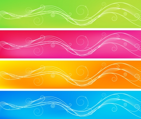 Four wavy banner backgrounds with swirls Illustration
