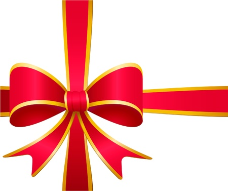 red ribbon bow: Red gift bow and ribbon with golden stripes isolated on white
