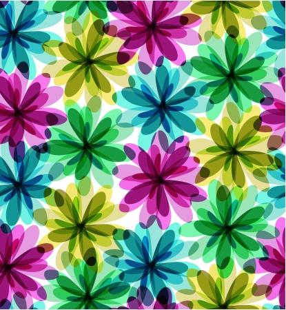 flowerhead: Seamless flowers background  Illustration