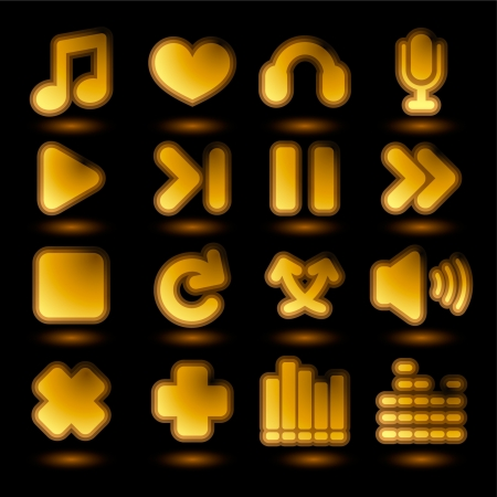Icon set with audio control and music related elements  Illustration